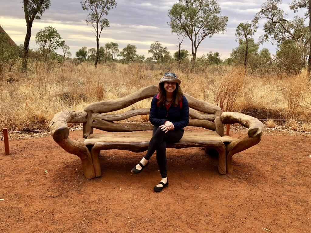 Crystal Traveler sitting where Royals William and Kate sat in Uluru