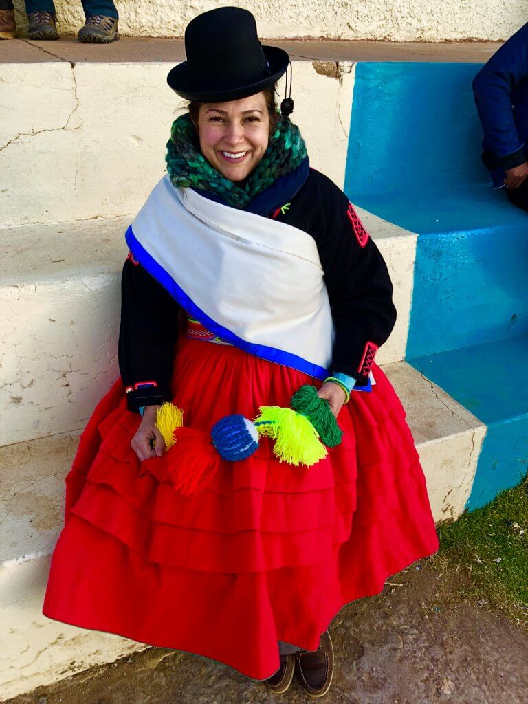 My host Family dressed me up as a Cholita. The Sacral Chakra Point of the Earth.